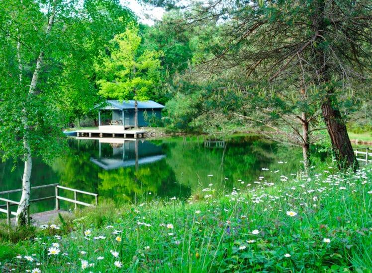 Cabane Romantique isolée au bord d'un lac